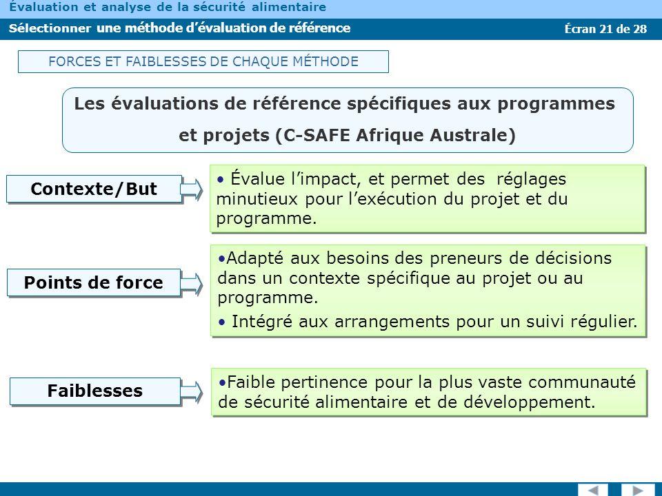 Les évaluations de référence spécifiques aux programmes