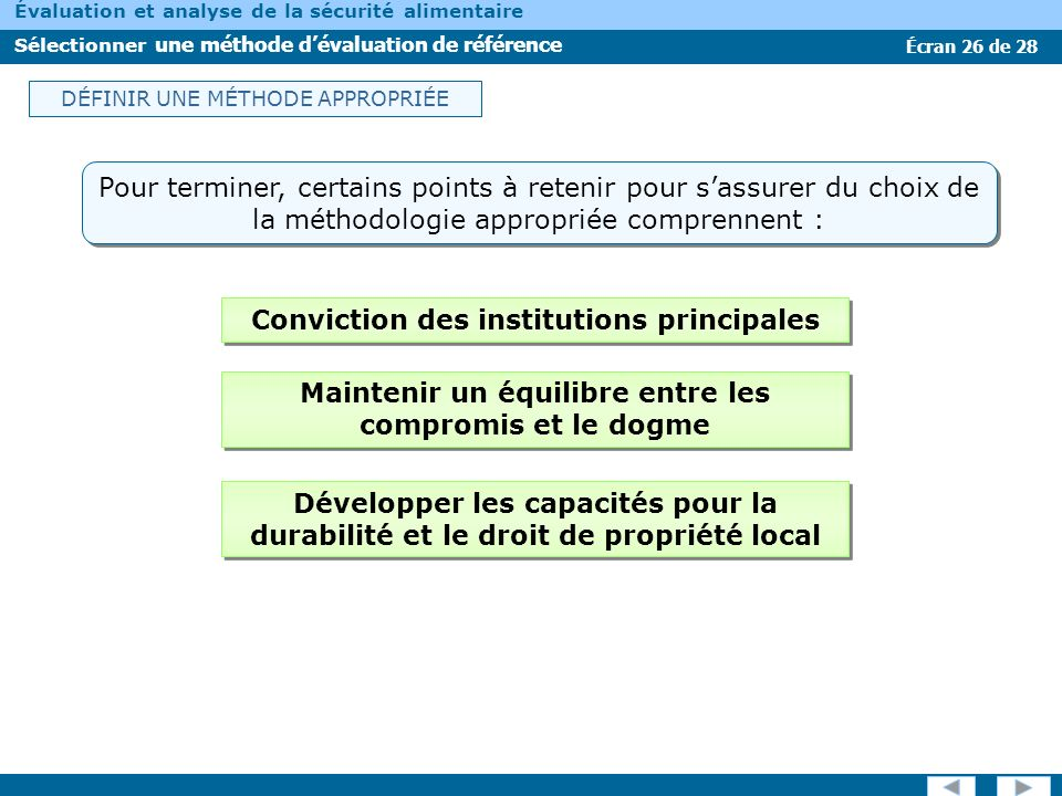Conviction des institutions principales