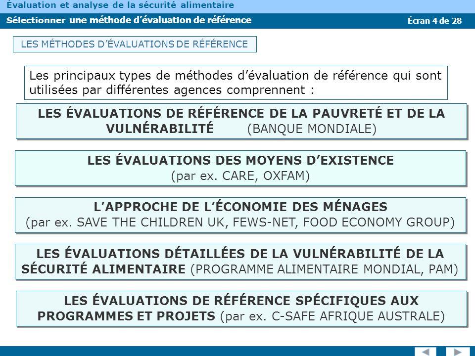 LES ÉVALUATIONS DES MOYENS D'EXISTENCE (par ex. CARE, OXFAM)