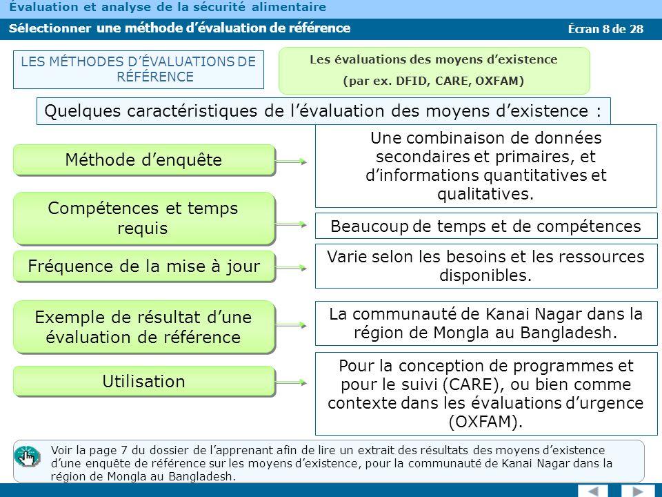 Les évaluations des moyens d'existence (par ex. DFID, CARE, OXFAM)