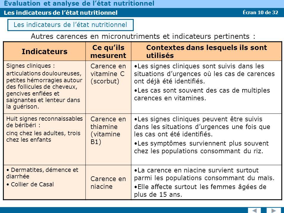 Les indicateurs de l'état nutritionnel