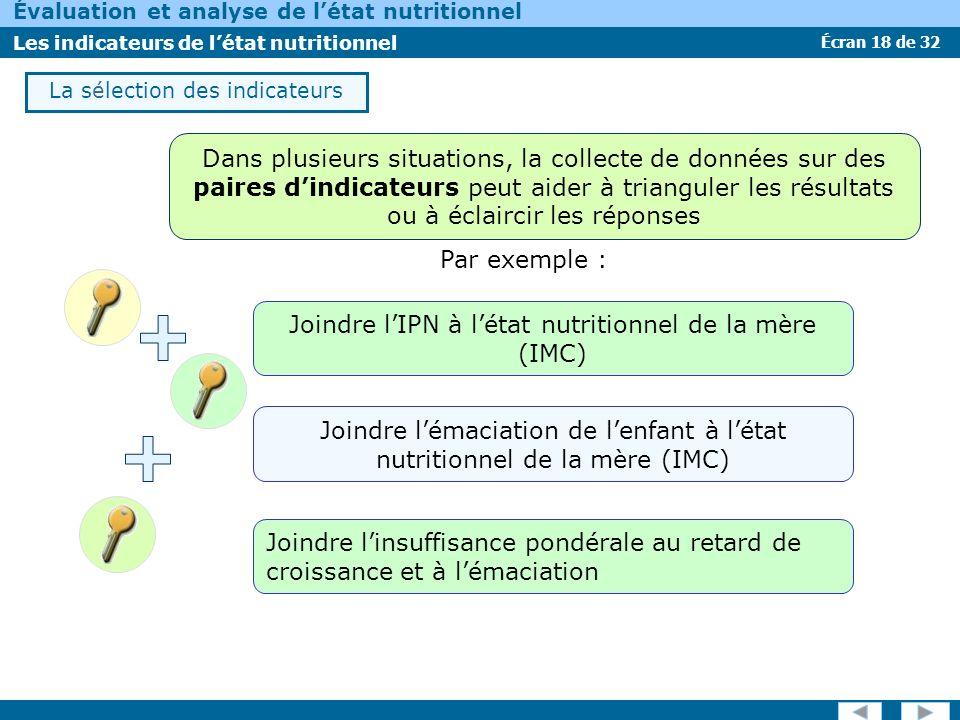 Joindre l'IPN à l'état nutritionnel de la mère (IMC)