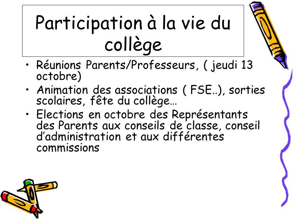 Participation à la vie du collège