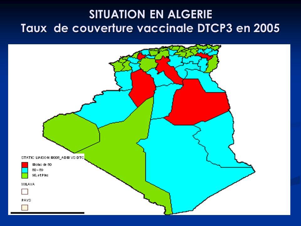SITUATION EN ALGERIE Taux de couverture vaccinale DTCP3 en 2005