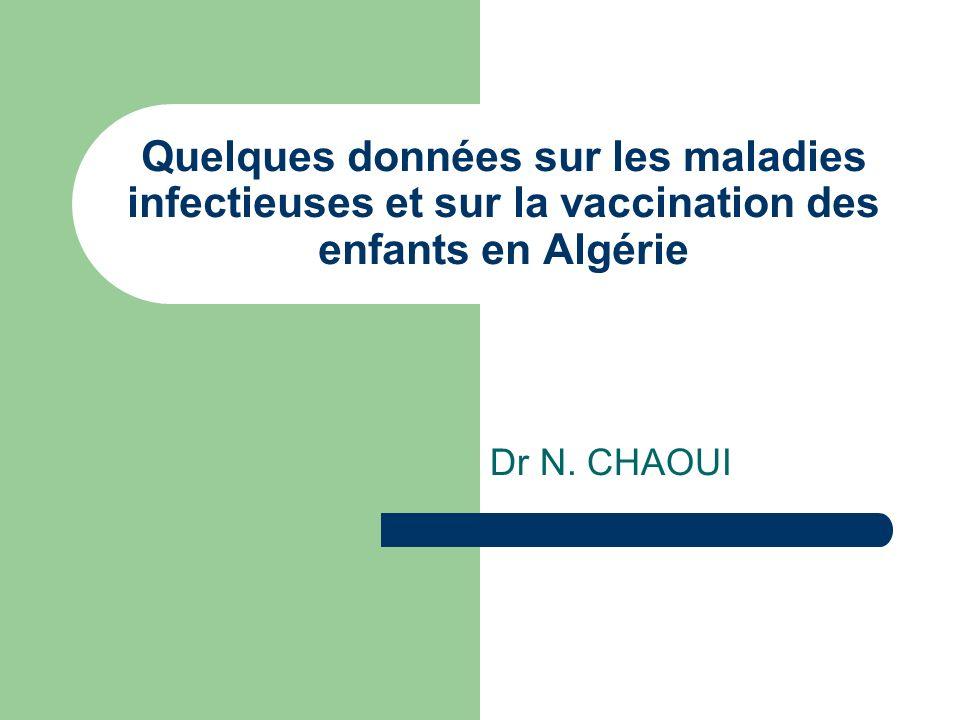 Quelques données sur les maladies infectieuses et sur la vaccination des enfants en Algérie