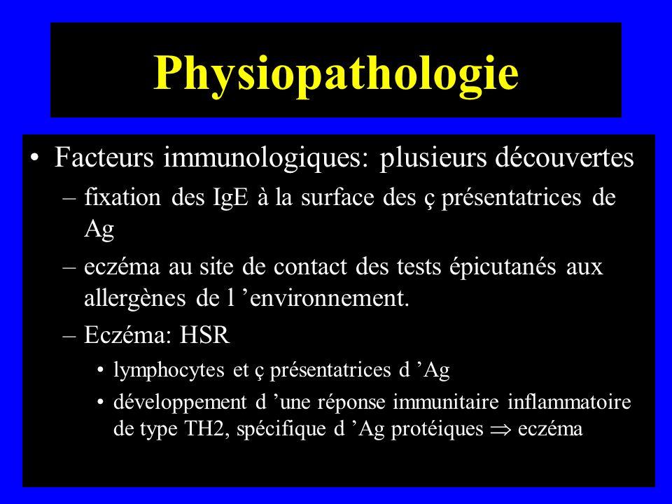 Physiopathologie Facteurs immunologiques: plusieurs découvertes