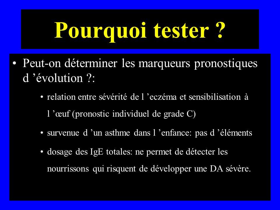 Pourquoi tester Peut-on déterminer les marqueurs pronostiques d 'évolution :