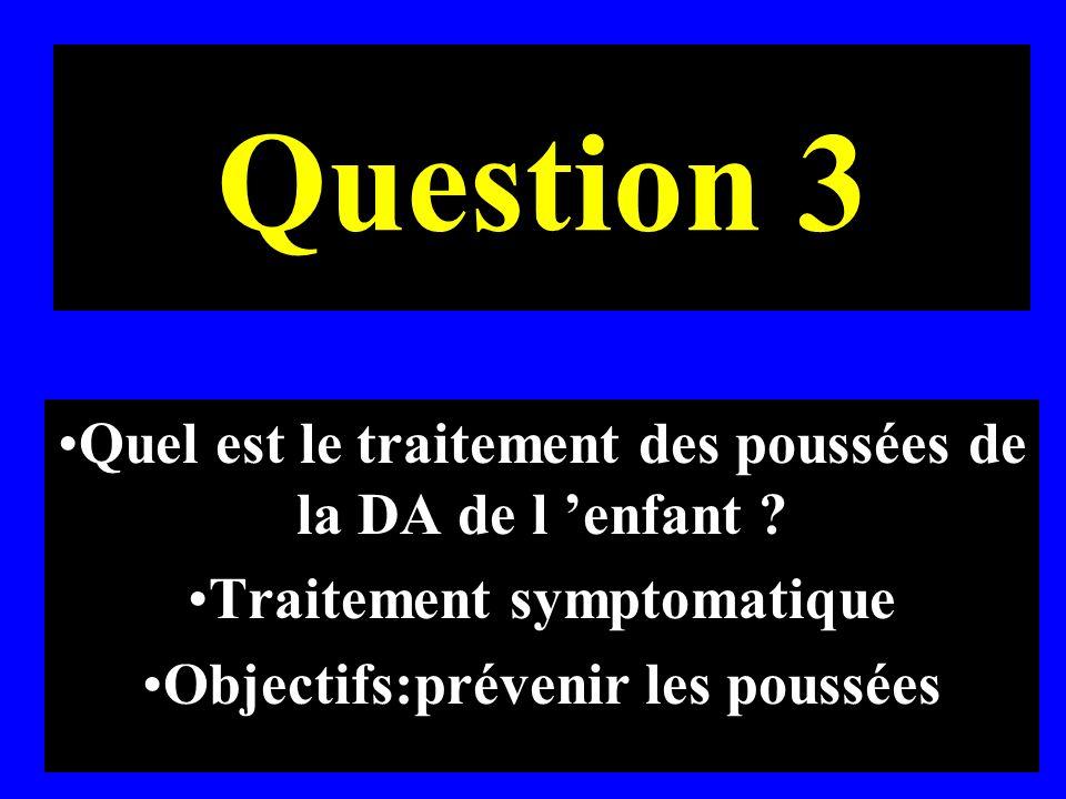 Question 3 Quel est le traitement des poussées de la DA de l 'enfant