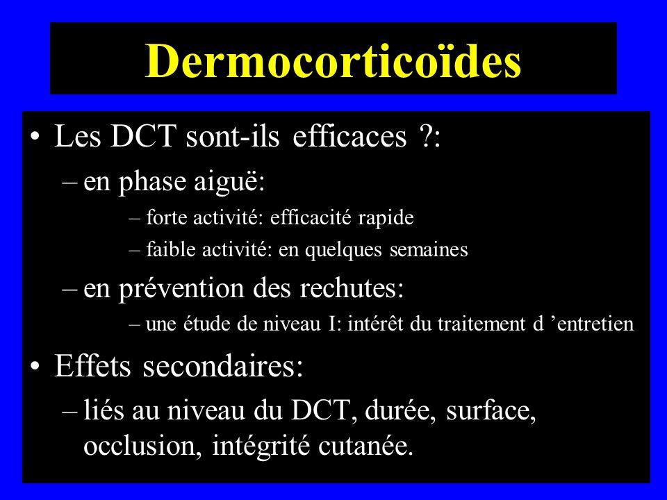 Dermocorticoïdes Les DCT sont-ils efficaces : Effets secondaires: