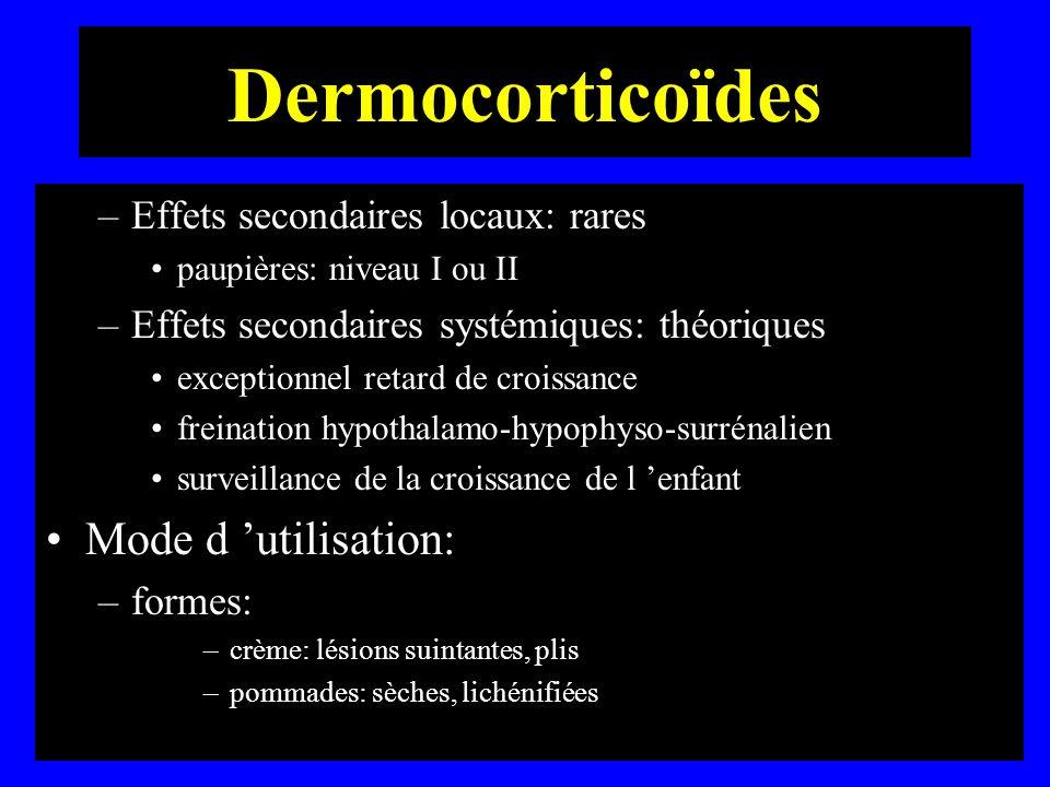 Dermocorticoïdes Mode d 'utilisation: Effets secondaires locaux: rares