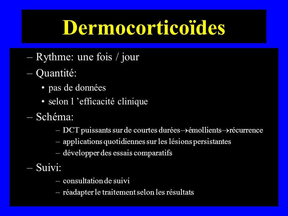 Dermocorticoïdes Rythme: une fois / jour Quantité: Schéma: Suivi:
