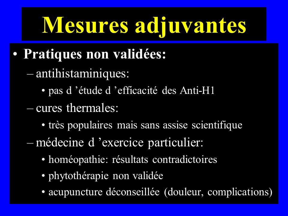 Mesures adjuvantes Pratiques non validées: antihistaminiques: