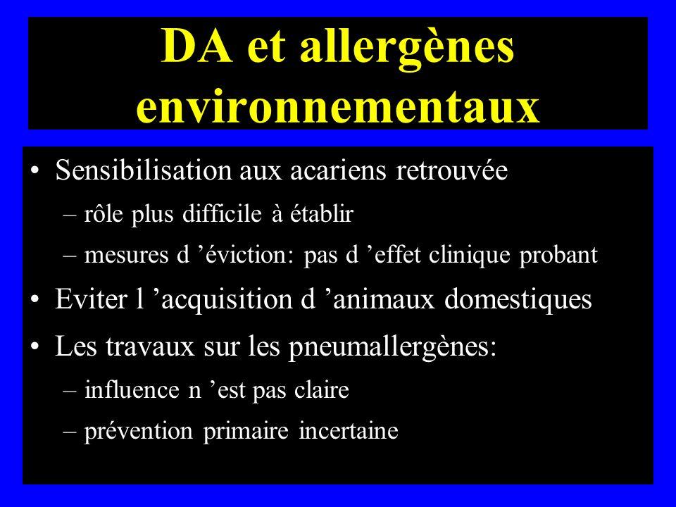 DA et allergènes environnementaux