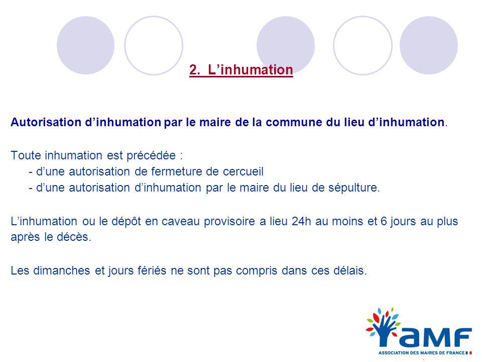 Autorisation d'inhumation par le maire de la commune du lieu d'inhumation.