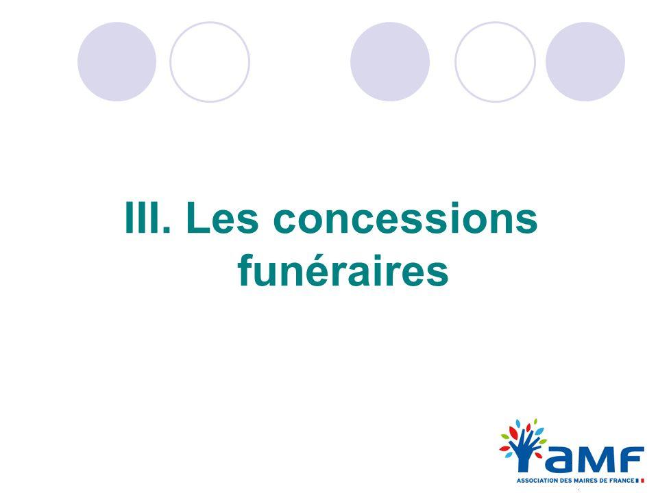 III. Les concessions funéraires