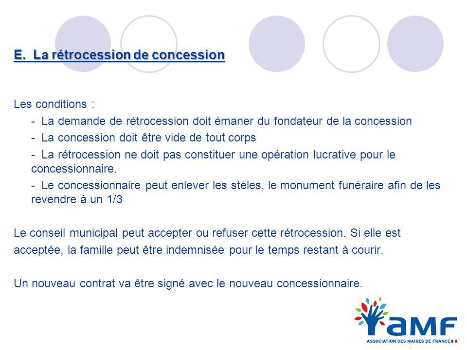 E. La rétrocession de concession