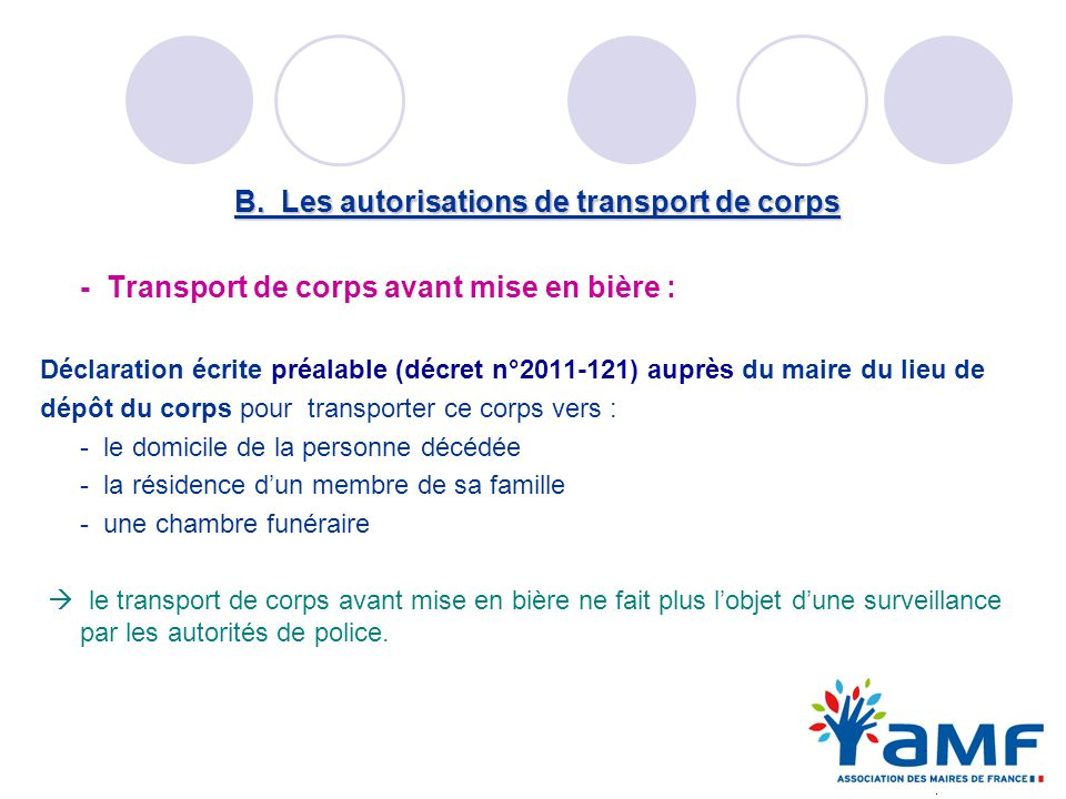 B. Les autorisations de transport de corps