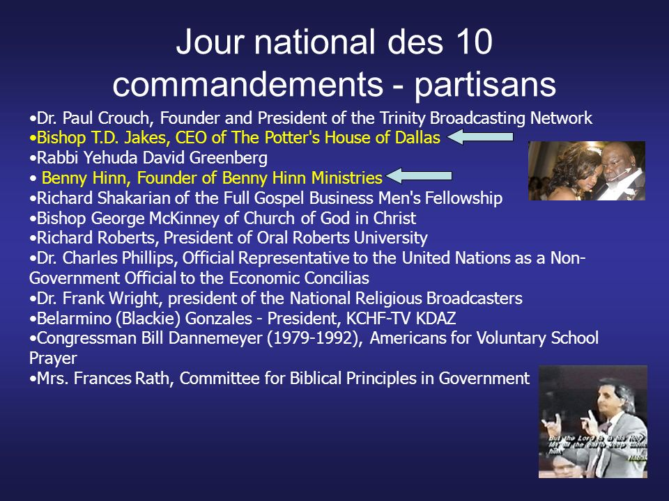 Jour national des 10 commandements - partisans