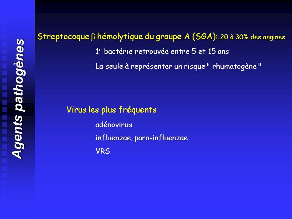 Streptocoque β hémolytique du groupe A (SGA): 20 à 30% des angines