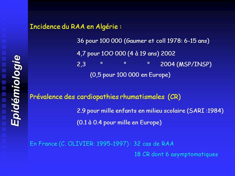 Epidémiologie Incidence du RAA en Algérie :