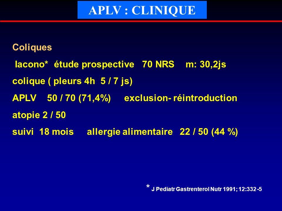 APLV : CLINIQUE Coliques Iacono* étude prospective 70 NRS m: 30,2js