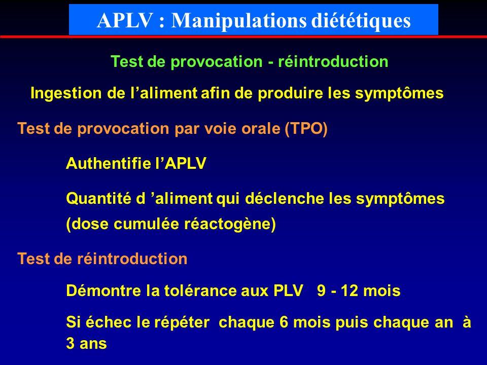 APLV : Manipulations diététiques Test de provocation - réintroduction