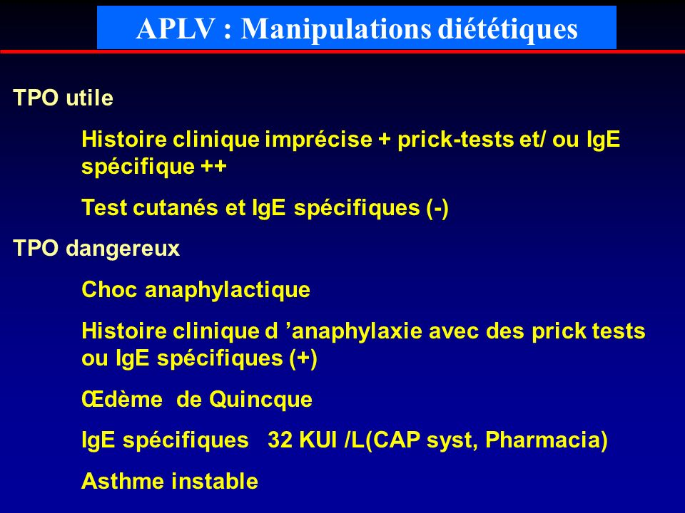 APLV : Manipulations diététiques
