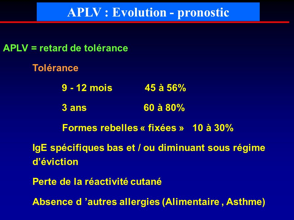 APLV : Evolution - pronostic