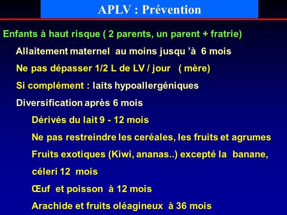 APLV : PréventionEnfants à haut risque ( 2 parents, un parent + fratrie) Allaitement maternel au moins jusqu 'à 6 mois.