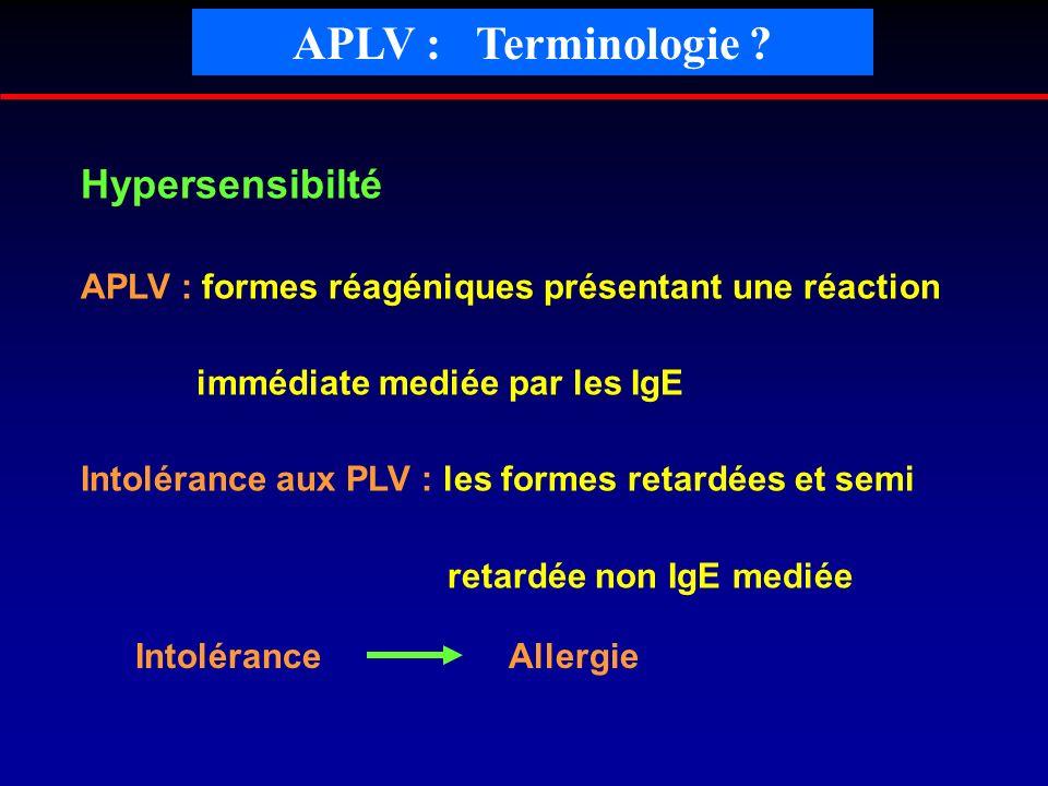 APLV : Terminologie Hypersensibilté
