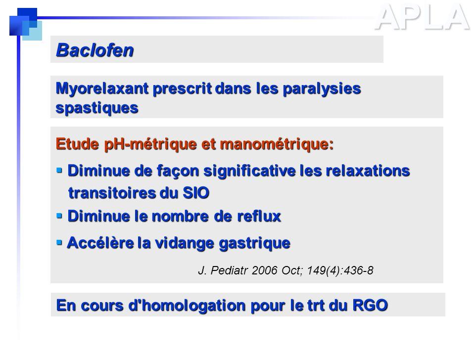 APLA Baclofen Myorelaxant prescrit dans les paralysies spastiques