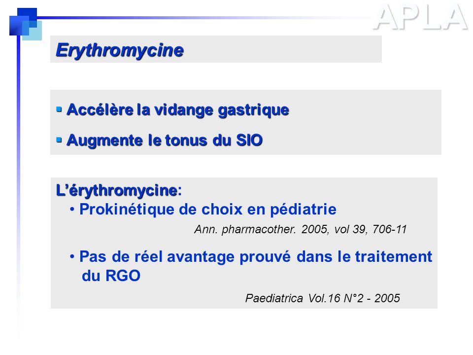 APLA Erythromycine Accélère la vidange gastrique