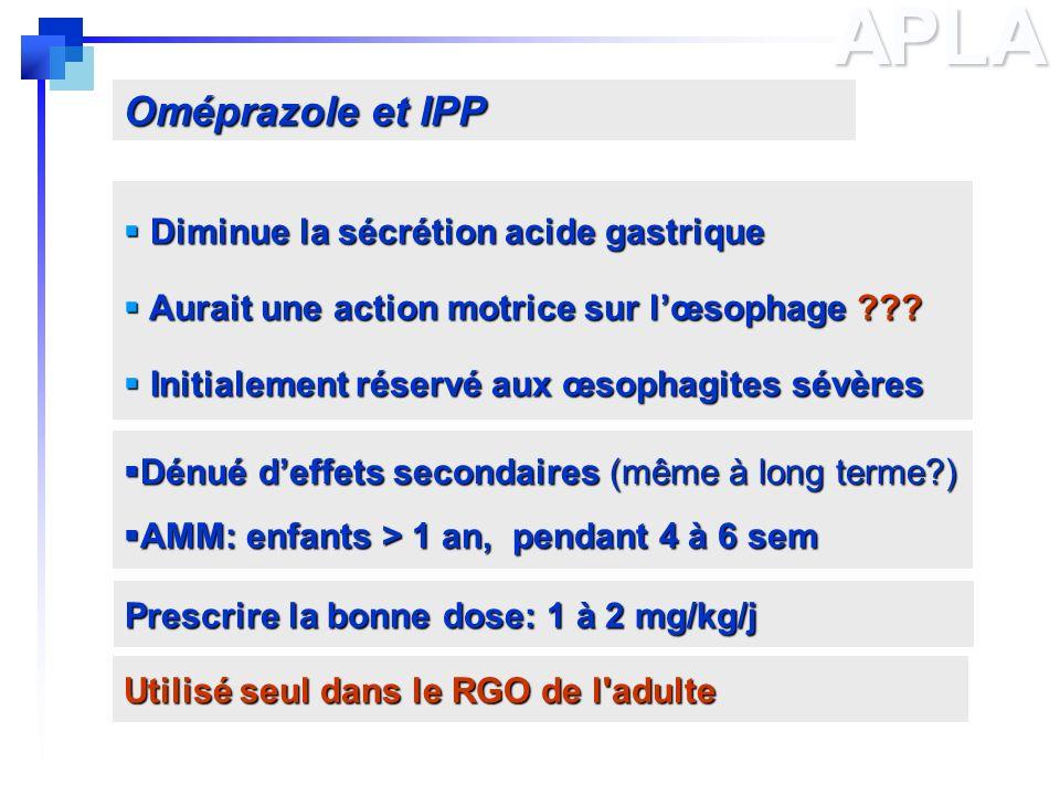 APLA Oméprazole et IPP Diminue la sécrétion acide gastrique