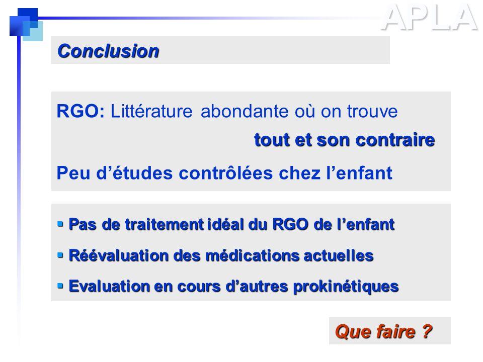 APLA Conclusion RGO: Littérature abondante où on trouve
