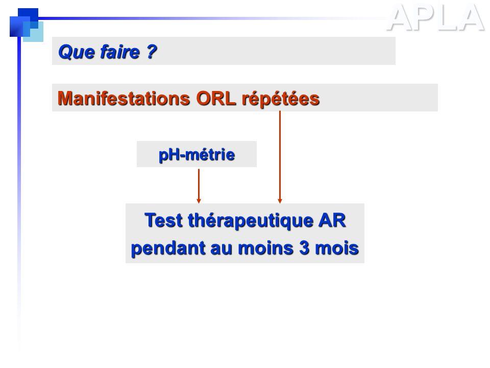 Test thérapeutique AR pendant au moins 3 mois