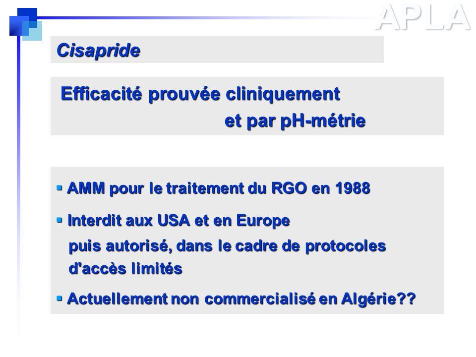 APLA Cisapride Efficacité prouvée cliniquement et par pH-métrie