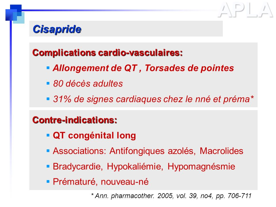 APLA Cisapride Complications cardio-vasculaires: