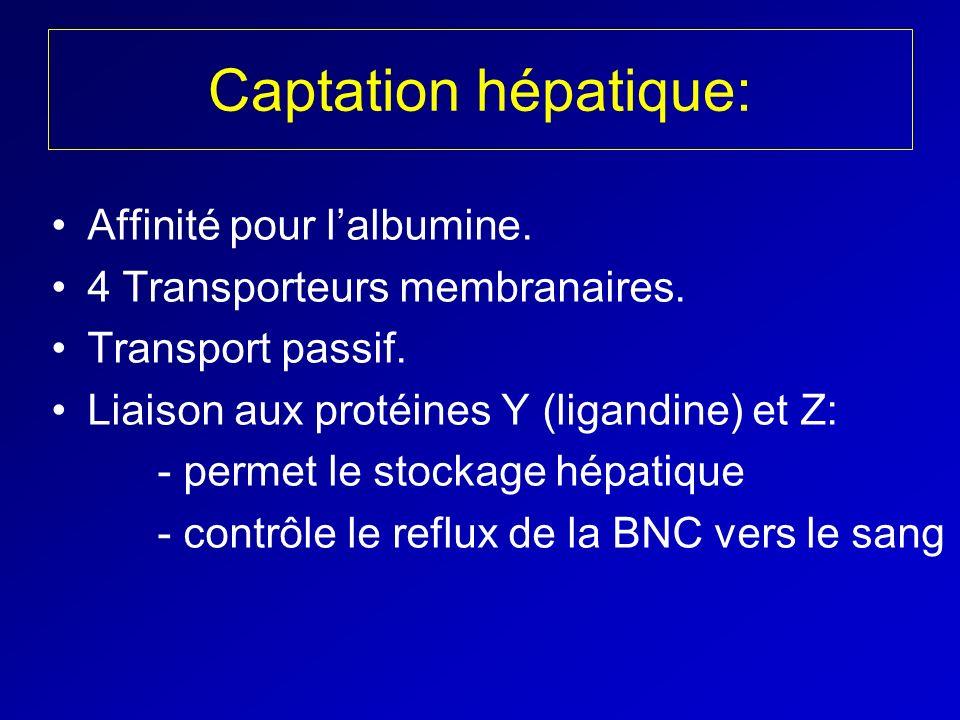 Captation hépatique: Affinité pour l'albumine.