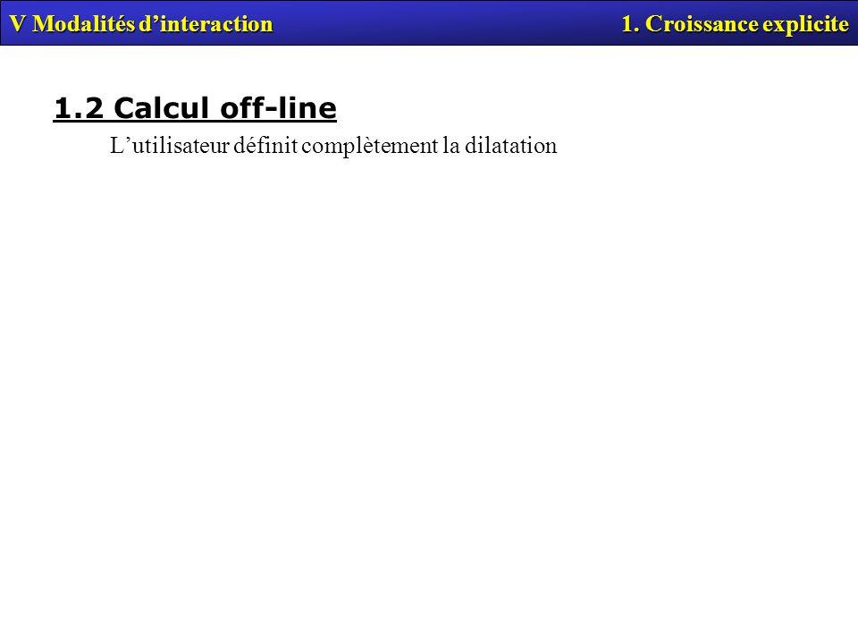 1.2 Calcul off-line V Modalités d'interaction 1. Croissance explicite