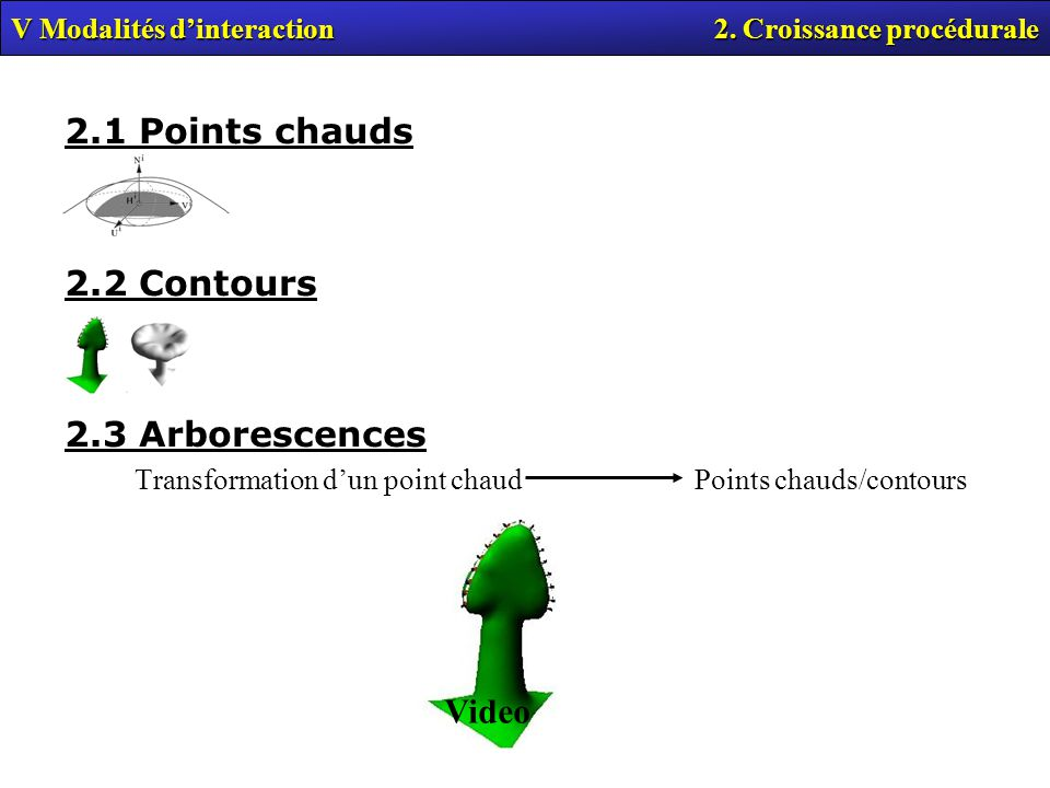 2.1 Points chauds 2.2 Contours 2.3 Arborescences Video