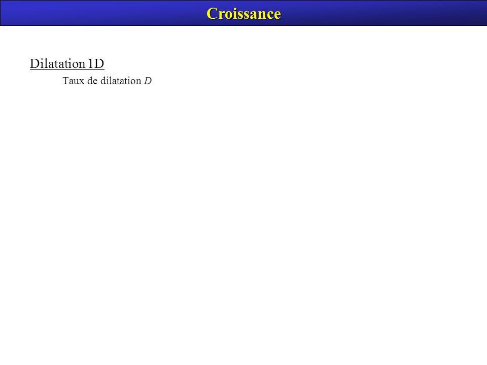 Croissance Dilatation 1D Taux de dilatation D
