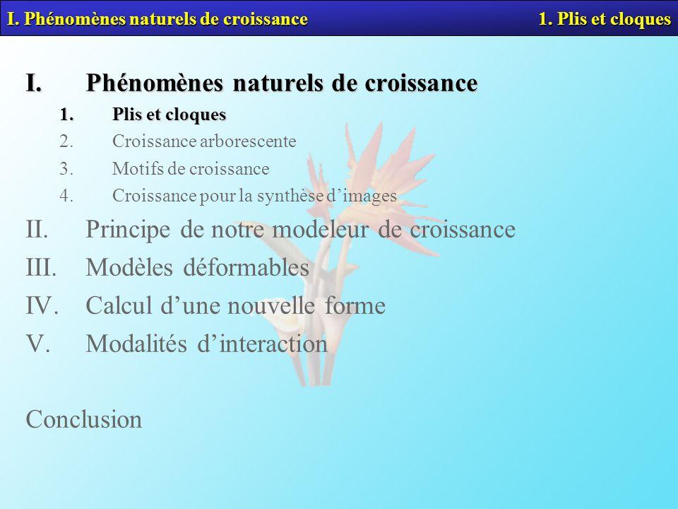 I. Phénomènes naturels de croissance 1. Plis et cloques