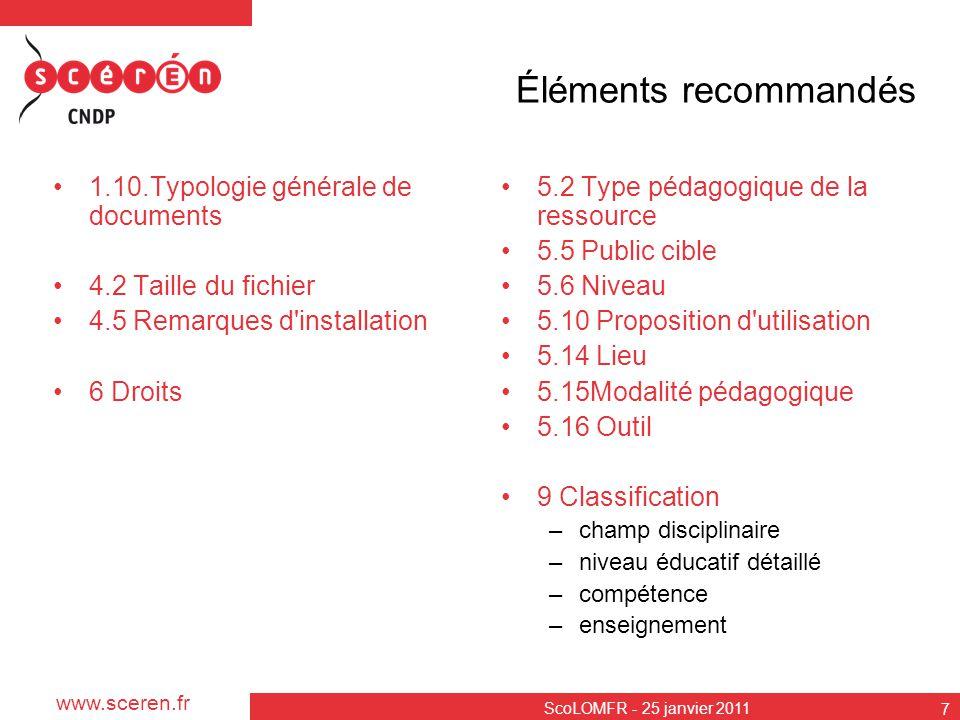 Éléments recommandés 1.10.Typologie générale de documents