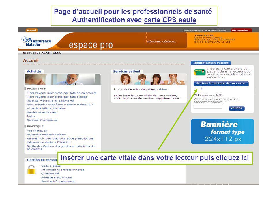 Page d'accueil pour les professionnels de santé