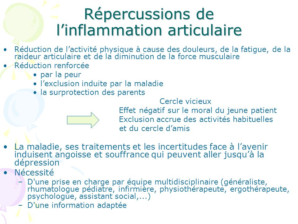 Répercussions de l'inflammation articulaire