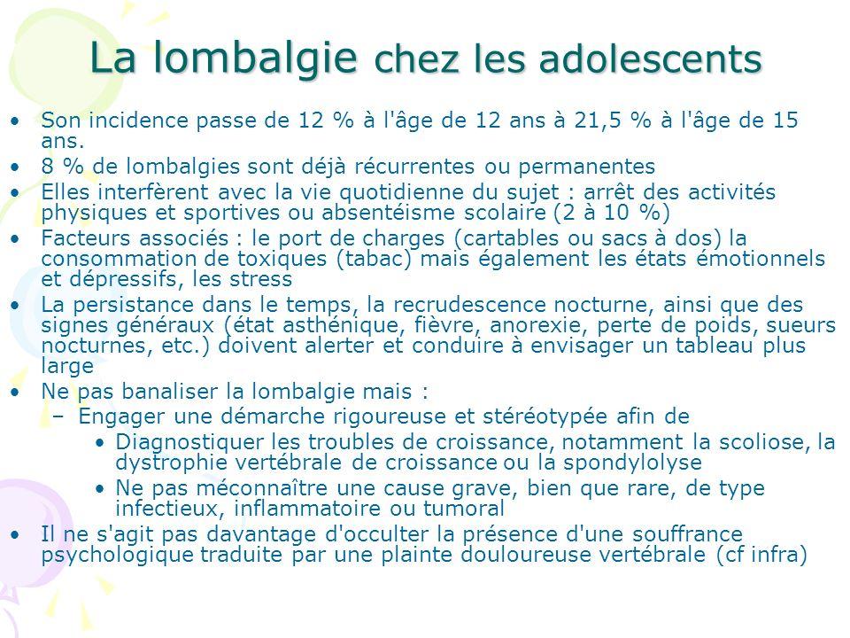 La lombalgie chez les adolescents