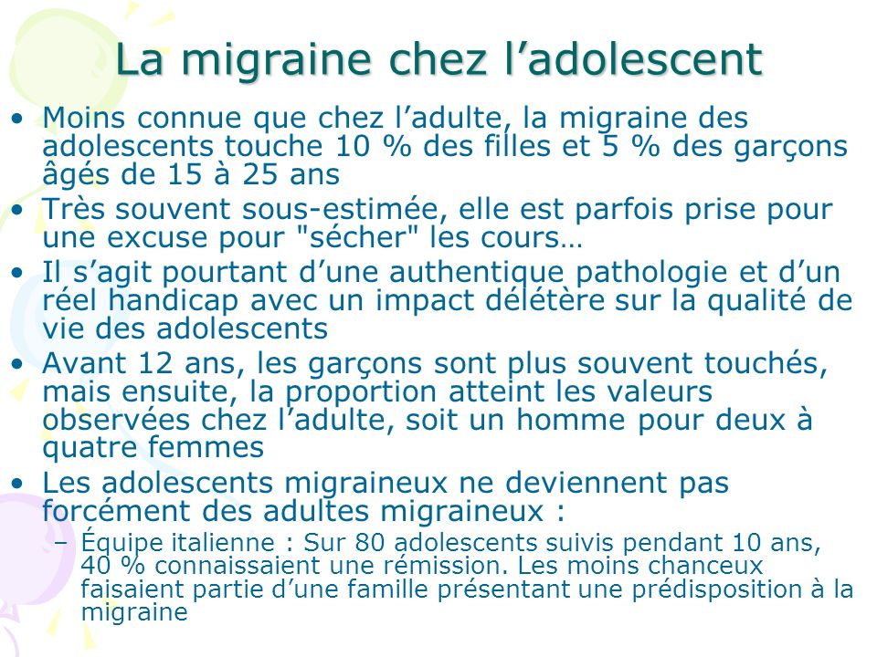 La migraine chez l'adolescent