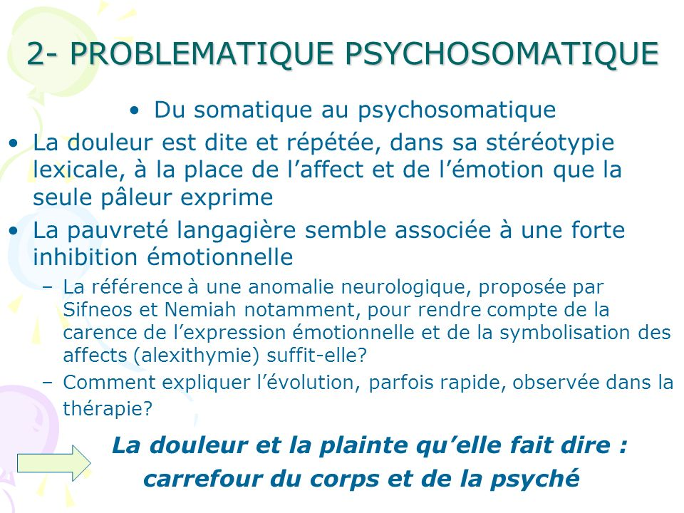 2- PROBLEMATIQUE PSYCHOSOMATIQUE