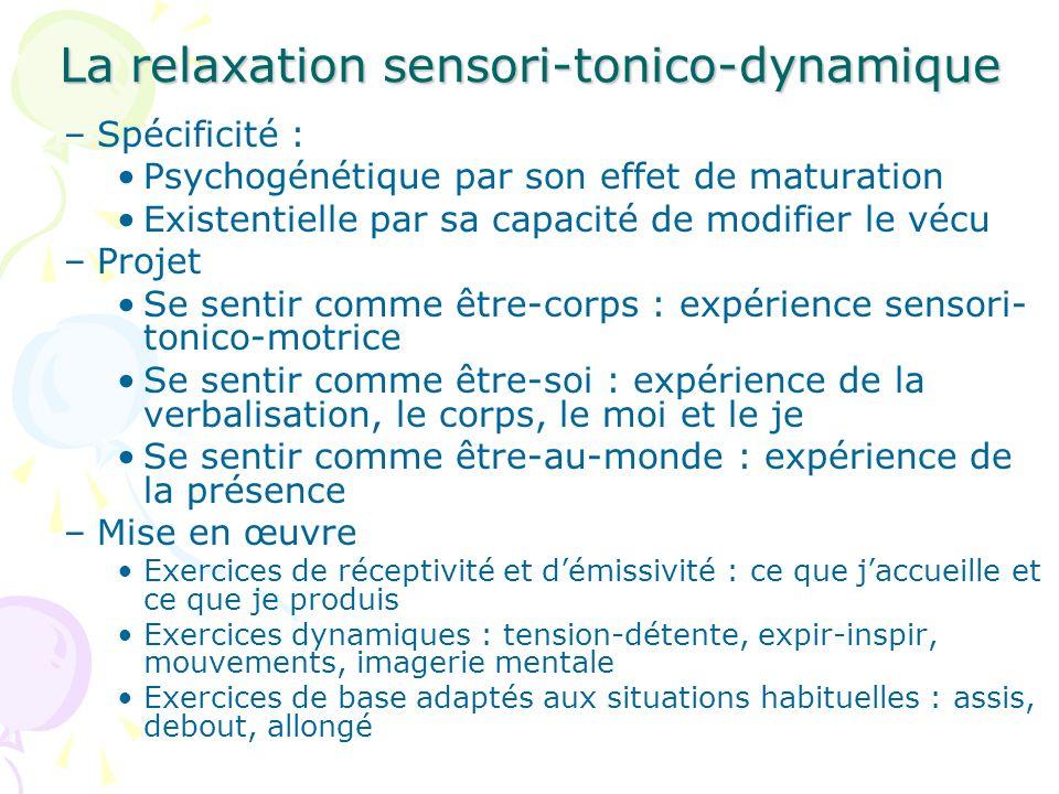La relaxation sensori-tonico-dynamique