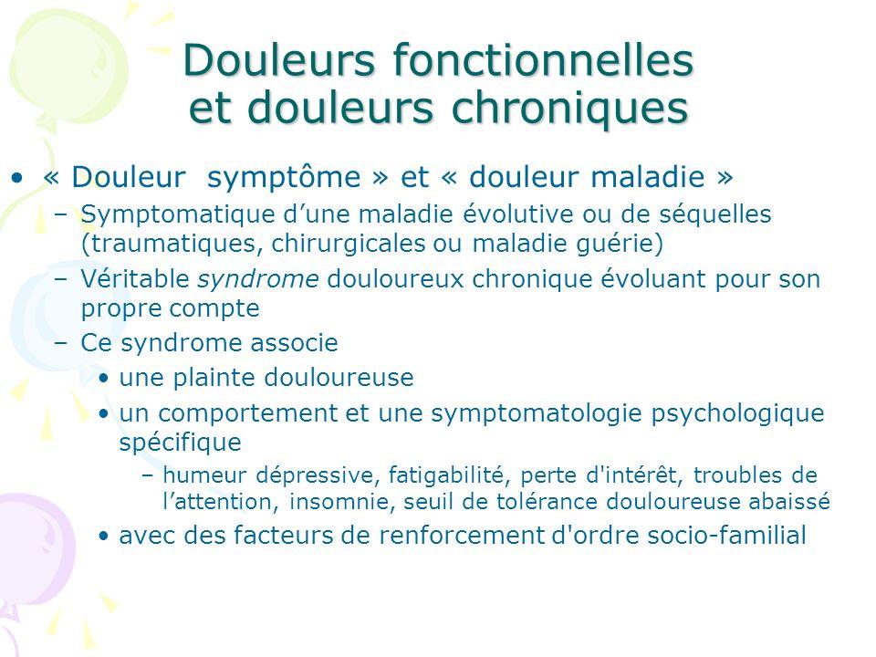 Douleurs fonctionnelles et douleurs chroniques
